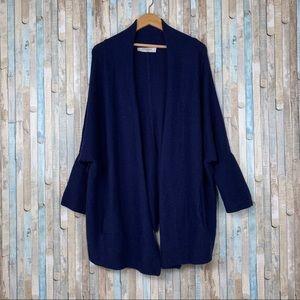 MM Lafleur M L Navy Wool Morandi Cardigan Sweater